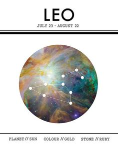 Leo the Lion  Astrology Cosmic Space Galaxy Stars Sign by MDAASH, $30.00