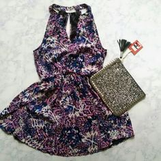 Lush * Bold Printed Dress! Cute! Bold print Lush dress! Cinched waist, v-neck and split T back. Geometric purple, pink and blue print. Lined. Great for Spring, wear with heels or black booties! Worn a few times. Great condition! Lush Dresses