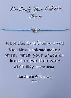 Go Slowly you will get there Wish Bracelet,blue Cord, Tortoise bead,Get well in Jewellery & Watches, Costume Jewellery, Bracelets   eBay