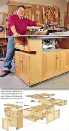 Table Saw Cabinet Plans - Table Saw Tips, Jigs and Fixtures - Woodwork, Woodworking, Woodworking Plans, Woodworking Projects Woodworking Essentials, Best Woodworking Tools, Woodworking Projects Plans, Table Saw Workbench, Carpentry And Joinery, Workshop Storage, Workshop Ideas, Cabinet Plans, Home Fix