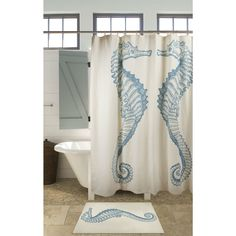 Seahorse Shower Curtain Beach Ocean Style 100% Cotton - Loluxe