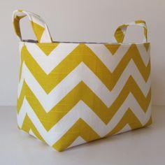 Fabric Organizer Storage Container Basket Bin - Corn Yellow and White Slub Chevron. $18.00, via Etsy.