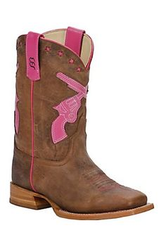 Anderson Bean Kid's Brown Toasted Bison w/ Pink Crossed Pistols Square Toe Boots