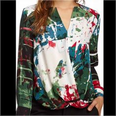 Paint Splatter Print Top Ordered online but never wore! Been in my closet for over a year so probably time to let it go. Very eye-catching though! Tracy M Tops Blouses