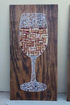 Get crafty with this string art DIY. String Art Diy, String Art Tutorials, String Crafts, String Art Patterns, Wedding String Art, Bottle Cap Art, Bottle Cap Crafts, Diy Bottle, Beer Bottle