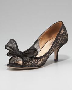 Couture-Bow Lace Pump by Valentino at Neiman Marcus.