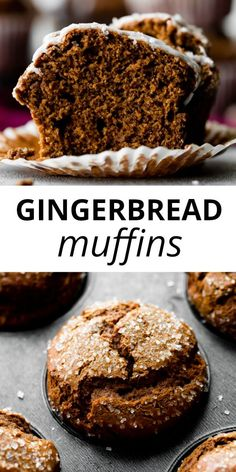 This recipe makes a batch of moist and extra spiced gingerbread muffins for Christmas! Top with sparkling sugar for a little crunch and lemon glaze. Bright lemon and spiced ginger pair wonderfully together! Recipe on sallysbakingaddic… Just Desserts, Delicious Desserts, Dessert Recipes, Yummy Food, Dinner Recipes, Healthy Cupcake Recipes, Healthy Baking, Tasty, Holiday Baking