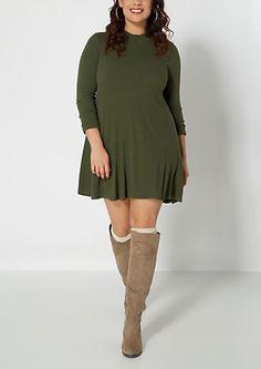Plus Green Ribbed Knit Swing Dress | rue21