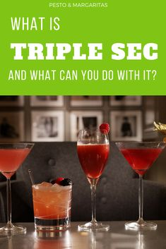 Triple Sec isn't a well known spirit but is behind many famous cocktails including the Cosmopolitan and the Margarita. Learn more about this important cocktail ingredient and the most well known varieties Prosecco Cocktails, Champagne Cocktail, Easy Cocktails, Classic Cocktails, Cocktail Recipes, Drink Recipes, Whiskey Cocktails, Sangria Recipes, Martinis