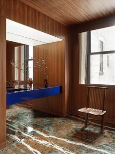 Office in New York is a minimalist office space located in New York, New York, designed by Halleroed Bureau Design, Timber Panelling, Wood Paneling, Noguchi Lamp, Home Design, Interior Design, New York Office, Minimalist Office, New Architecture