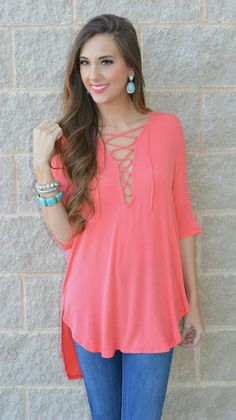This Coral Lace Up Top Is Too Cute! Pair It With White Jeans Or Tuck It Into A Pair Of Shorts For A Casual Chic Look!