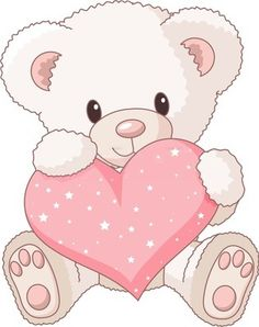 Valentine's Day Clipart - White Teddy with Pink Heart                                                                                                                                                     Más