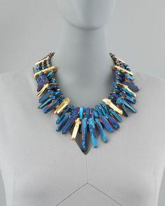 Jose & Maria Barrera Iridescent Rock Crystal Necklace, Blue - Neiman Marcus