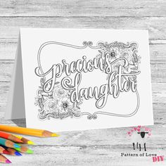 Precious Daughter Coloring Printable Note Cards | Etsy Jw Gifts, Letter Size, All Sale, Note Cards, Card Stock, Coloring, Daughter, Printables, Notes