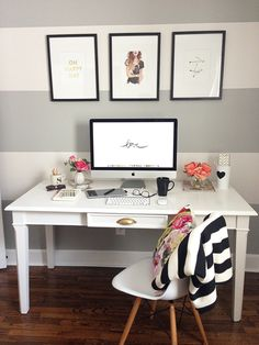 Simple desk on the wall idea, could add one simple fun wall like these bold stripes,
