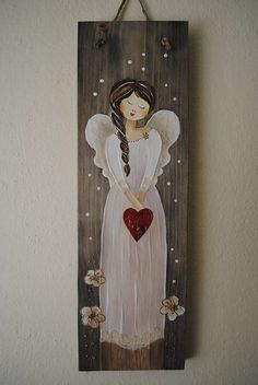 Anjel so srdcom.sk Anjel so srdcom. Christmas Canvas, Noel Christmas, Pallet Painting, Painting On Wood, Tole Painting Patterns, Wood Patterns, Painted Baskets, Daisy Painting, Simple Acrylic Paintings