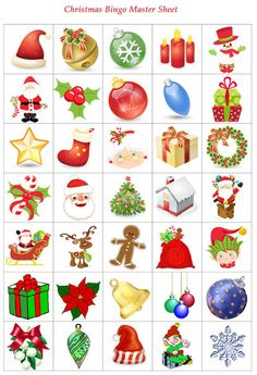 Today we have a game of Christmas Bingo for you to print out and play. This printable has 4 bingo cards and one master sheet with all the images to cut out.