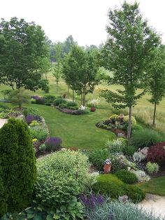 Neighbor's view of garden posted on Flickr - Photo Sharing! by greenthumblonde Young trees - this will transition to a shade garden as they mature