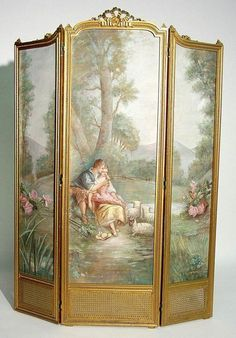 LOUIS XVI STY 3-PANEL BOUDOIR SCREEN, Louis Xvi, Hand Painted Furniture, Furniture Decor, Vintage Furniture, Dressing Screen, Decorative Screens, Art Nouveau, Art Deco, Antique Interior