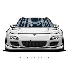 Jdm Wallpaper, Sports Car Wallpaper, Sticker Auto, Car Backgrounds, Truck Art, Rx7, Car Illustration, Japan Cars, Car Posters