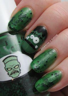 Adventures In Acetone Frankenstein halloween  #nail #nails #nailart