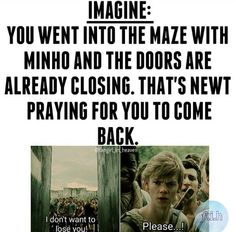 Then you come running back and your carrying something that the glasses can't make out. Newt sees that you won't make it in time. Right before the doors close, Newt runs in. The doors close. You and Newt have to survive a night in the maze.