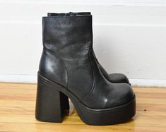 Heel measures approximately inches with a 1 inch platform Black leather (Lamb) Zip fastening along side Imported Platform Boots Outfit, Black Platform Boots, Chunky Heel Platform Boots, Sock Shoes, Cute Shoes, Me Too Shoes, Leather Heeled Boots, Black Leather Boots, 90s Boots