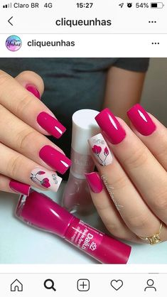 Uñas decoradas Fancy Nails, Love Nails, Red Nails, Trendy Nail Art, Stylish Nails, Gorgeous Nails, Pretty Nails, French Manicure Acrylic Nails, Nails Only