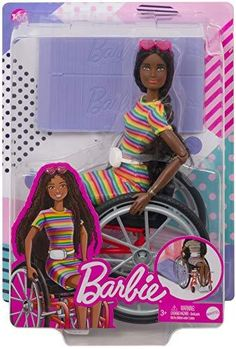 """Brand: BarbieFeatures: The latest line of Barbie Fashionistas dolls includes different body types and a mix of skin tones, eye colors, hair colors, hairstyles and so many fashions inspired by the latest trends! Barbie doll comes with a wheelchair that has rolling wheels and a working brake, plus a ramp that works with the Barbie Dreamhouse (sold separately) The doll also features 22 """"joints"""" -- in the neck, upper arms, elbows, wrists, torso, hips, upper legs, knees and ankles -- to play… Barbie Doll Set, Beautiful Barbie Dolls, Barbie I, Mattel Barbie, Barbie And Ken, Barbie Clothes, Disney Barbie Dolls, Baby Girl Toys, Toys For Girls"""