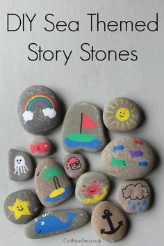 Simple story stones DIY // Beautiful creative story prompts for your kids Toddler Crafts, Diy And Crafts, Craft Projects, Crafts For Kids, Arts And Crafts, Kids Diy, Decor Crafts, Craft Ideas, Pebble Painting