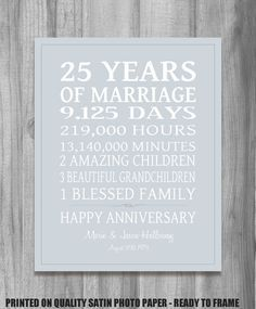 SILVER 25th Anniversary Gift Personalized Our Life Story Stats Marriage Subway Sign Print UNIQUE GIFT Custom Colors