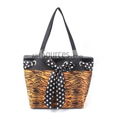 Hot Sale Cheap Tote Bags, Tiger Stripes Handbags, Bags With Black Bowknot
