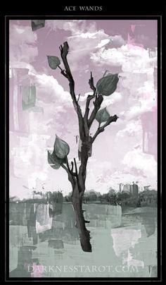 Ace of Wands. darknesstarot.com #aceofwands #tarot #tonydimauroart #darknesstarot