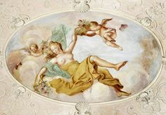 Elżbieta Sieniawska as Flora by Giuseppe Rossi, 1726-1729, decoration of a dome in the Lower Vestibule of the Wilanów Palace