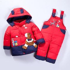 Cartoon baby Children boys girls winter warm down jacket suit set thick coat+jumpsuit baby clothes set kids jacket animal Horse Winter Kids, Baby Winter, 2016 Winter, Baby Snowsuit, Duck Down Jacket, Baby Suit, Boys Suits, Kids Coats, Snow Suit
