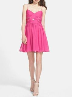 Want! Pink cut-out party dress