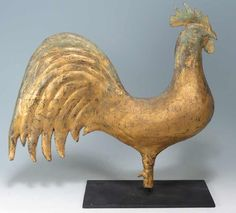 FULL-BODIED GILDED ROOSTER WEATHERVANE 19th C.