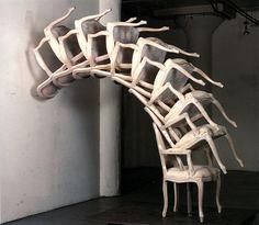 """Spinal Cord"", 1996, Arman  Accumulation de fauteuils"