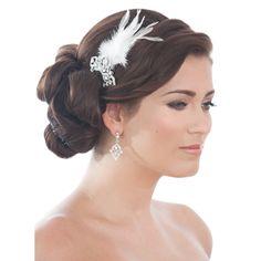 bridesmaies hair   Taj Feather Bridal Hair Comb - Bridal Jewellery - Crystal Bridal ...