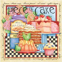 Piece of Cake (Joy Hall) Cupcake Art, Pastry Art, Decoupage Paper, Decoupage Vintage, Country Art, Tea Cakes, Piece Of Cakes, Kitchen Art, Kitchen Shop