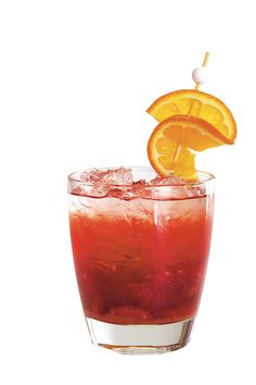 Arkansas Razorback Red - Team Spritzers - Southernliving. Muddle 1/2 cup fresh raspberries, 1/4 cup fruit punch, and 2 Tbsp. turbinado sugar in a 10-oz. glass. Fill glass with crushed ice, and top with seltzer water or club soda. Gently stir. Garnish with a fresh orange slice.