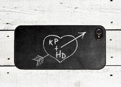 Personalized Chalkboard iPhone Case -Valentine's Day Cell Phone Case - iPhone 5 Case - iPhone 4,4s - Love on Etsy, $18.00
