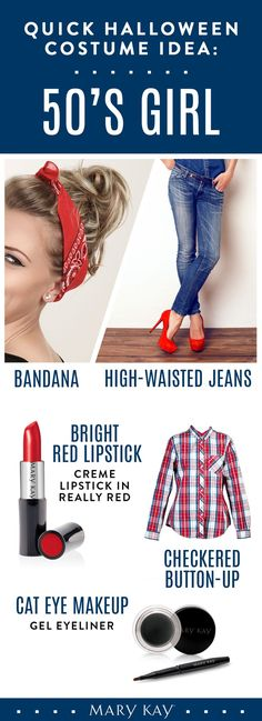 Create a Halloween costume with items out of your closet! All you need is a bandana, high-waisted denim, and a checkered button-up. Keep your makeup simple with a bold cat eye and red lip. This costume is perfect for school or the office! | Mary Kay. Click on the picture for more details! http://www.marykay.com/Clairamae/en-US/