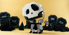 My Heaaaddd Diorama Paper Toy - by Salazad == A very original Paper Toy Diorama, by Indonesian designer Salazad. perfect for your Halloween decoration! Fall Halloween, Halloween Crafts, Halloween Decorations, Halloween Skull, Paper Crafts Origami, Diy Paper, 3d Cuts, Art Jouet, Cardboard Art