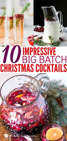 10 Christmas Cocktails Ready for a Crowd - XO, Katie Rosario - - 10 Christmas Cocktails Ready for a Crowd – XO, Katie Rosario Drinks, Mocktails and Beverages 10 Impressive Big Batch Christmas Cocktails Fun Drinks, Yummy Drinks, Beverages, Cheers, Christmas Party Food, Christmas Entertaining, Christmas 2016, Christmas Cookies, Holiday Cocktails