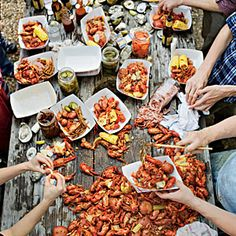Roll up your sleeves and crank the music for the South's ultimate springtime feast. Chef Tim Byres celebrates crawfish season with a Texas twist Shrimp Boil Party, Crawfish Party, Crawfish Season, Seafood Dishes, Fish And Seafood, Seafood Recipes, Cooking Recipes, Crawfish Recipes, Fish Boil