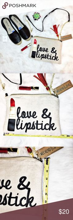 "WEEKEND[LOVE] - ""Love & Lipstick"" bag NWT! Unused & new! Burlap crossbody bag (or clutch) with faux gold chain and black faux leather strap. Shoulder strap is removable. Red faux leather tassle detail. Striped black and white striped lined bag. Please see photos for measurements. The espadrilles are sold in a separate listing! Bundle and save! Weekend[Love] Bags"