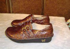 Alegria Sz 42 EU 11.5 US Women ALL-572 Brown & Gold Embossed Roses Leather Clogs #AlegrioPGLite #Clogs