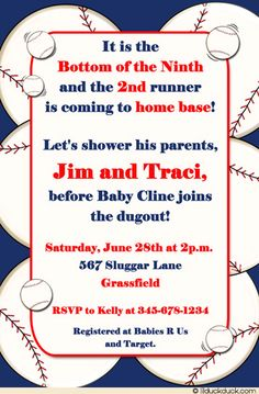 home run coed shower invitation baseball baby