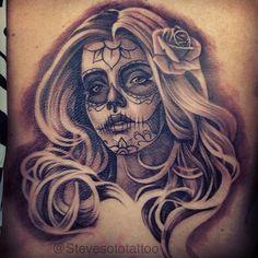 Tattoo by Steve Soto. #inked #Inkedmag #tattoo #sugarskull #realism #portrait #idea #skull
